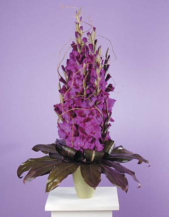 Stylized Purple Gladiolus with Ti Leaves